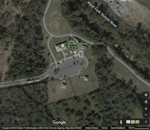 Map on satellite imagery of Cason Trailhead - Buildings, bark park, river, parking, greenway, roads.