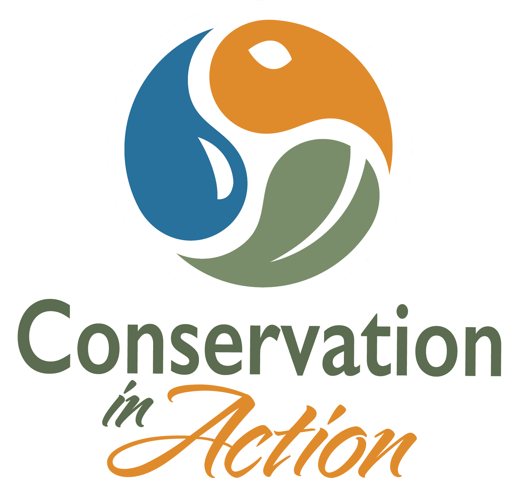 Conservation in Action logo: Leaf, water drop, critter in circle, with text