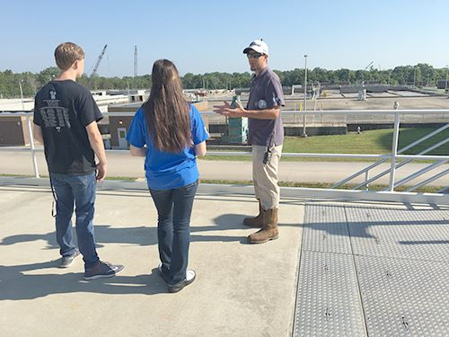 Master Plant Operator Anthony Pollock explaining the water reclamation process