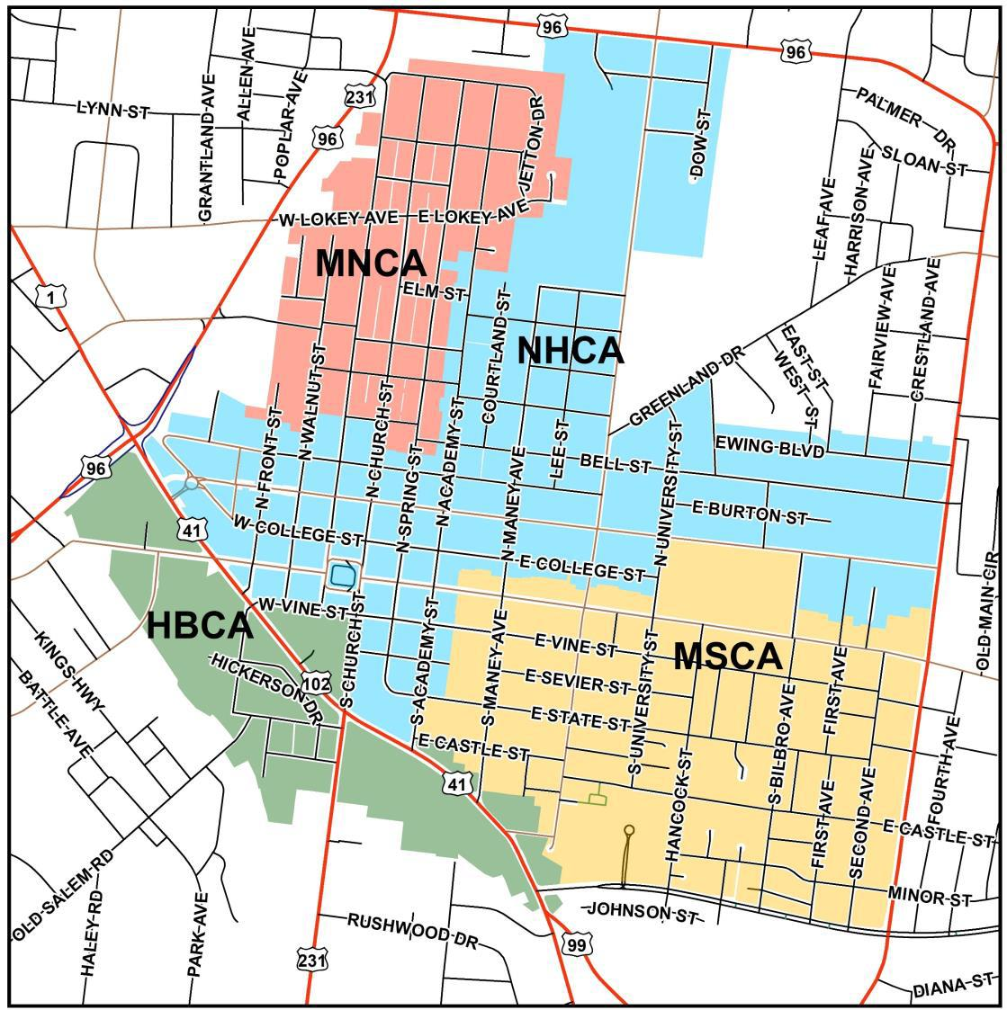 Core Overlap Map Character Areas Historic Bottoms green Midtown Northwest pink North Highlands blue