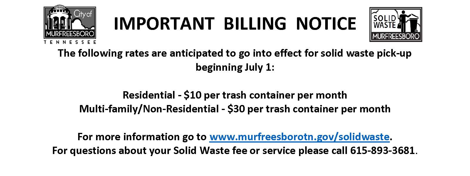 Bill notice Solid Waste fees increase