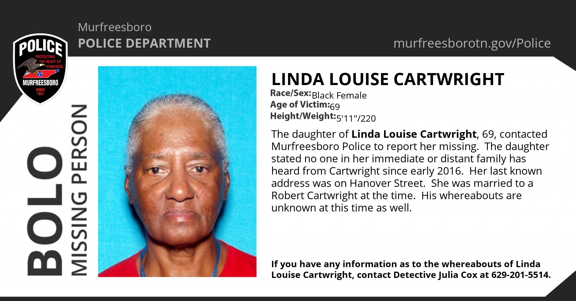 Missing Person Linda Louise Cartwright
