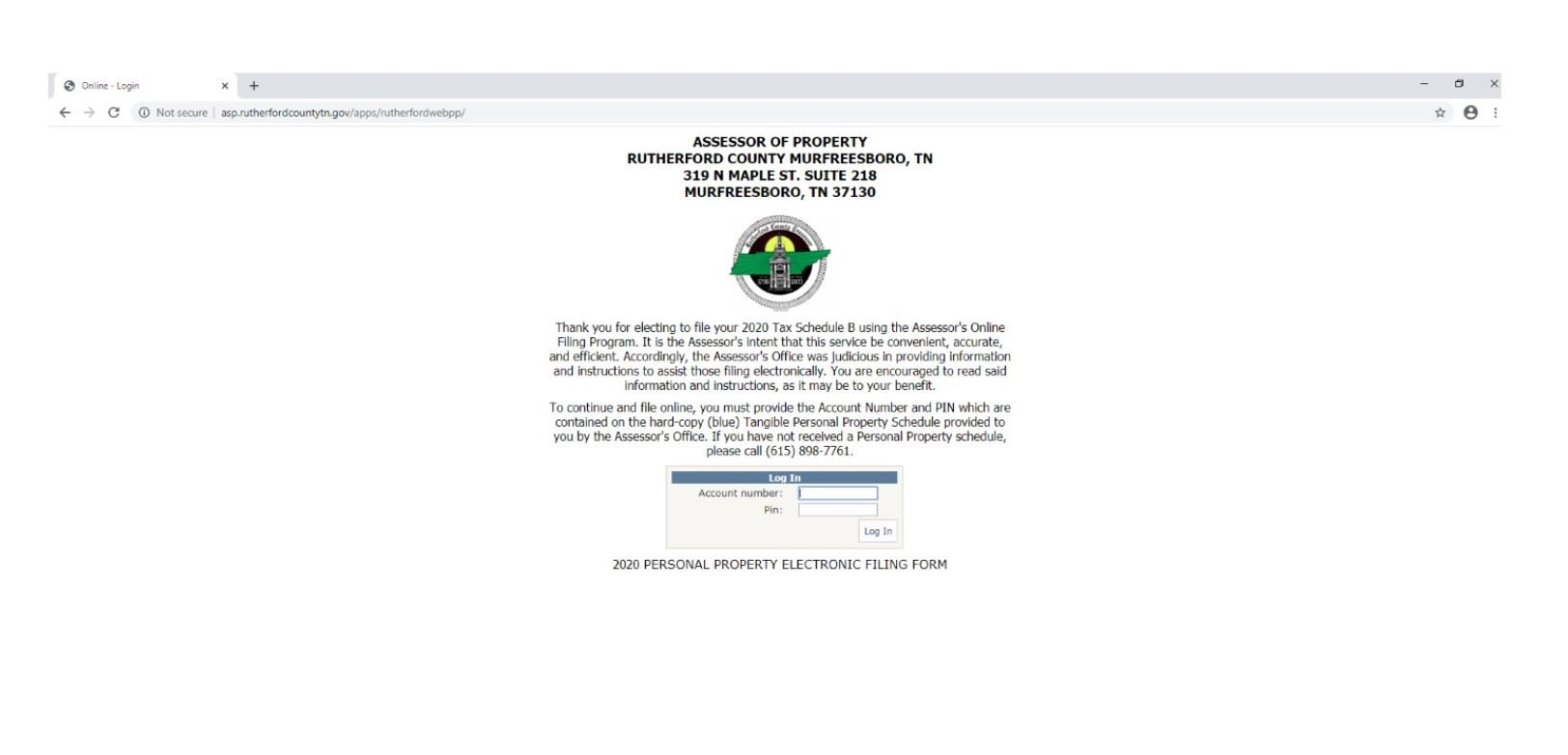 Screenshot of PA Web