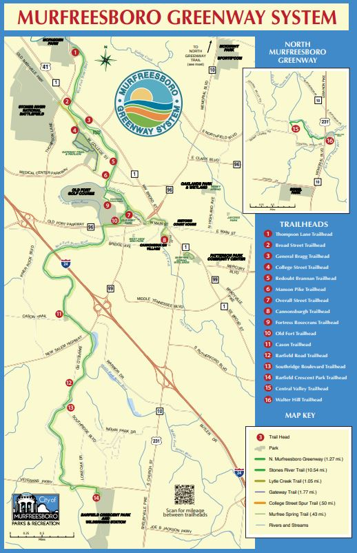 Map of Murfreesboro Greenway system Opens in new window