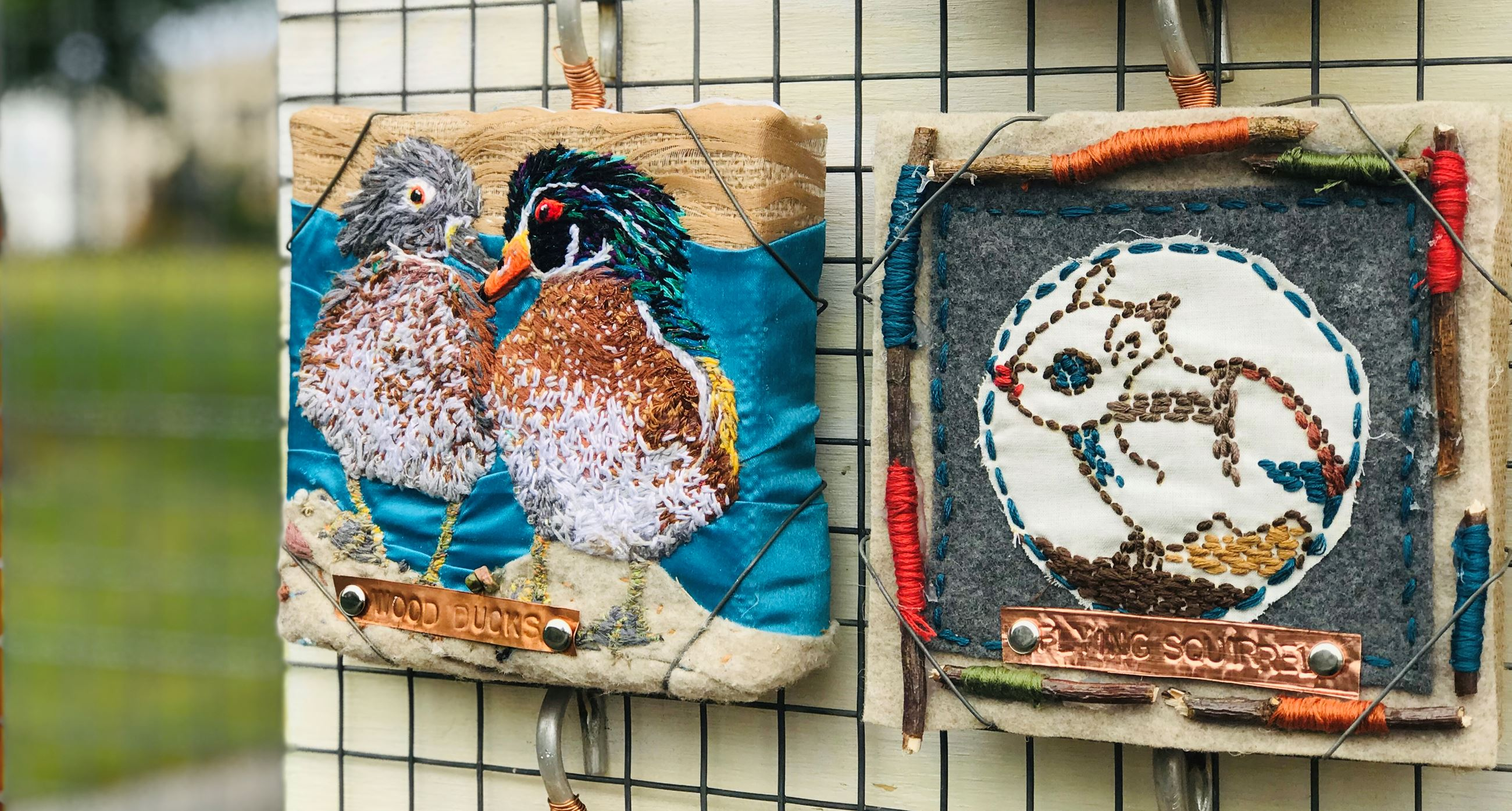 embroidery pieces artist: Phyllis Moody -Wood Ducks &  Kendyl Mathews - Southern Flying Squirrel