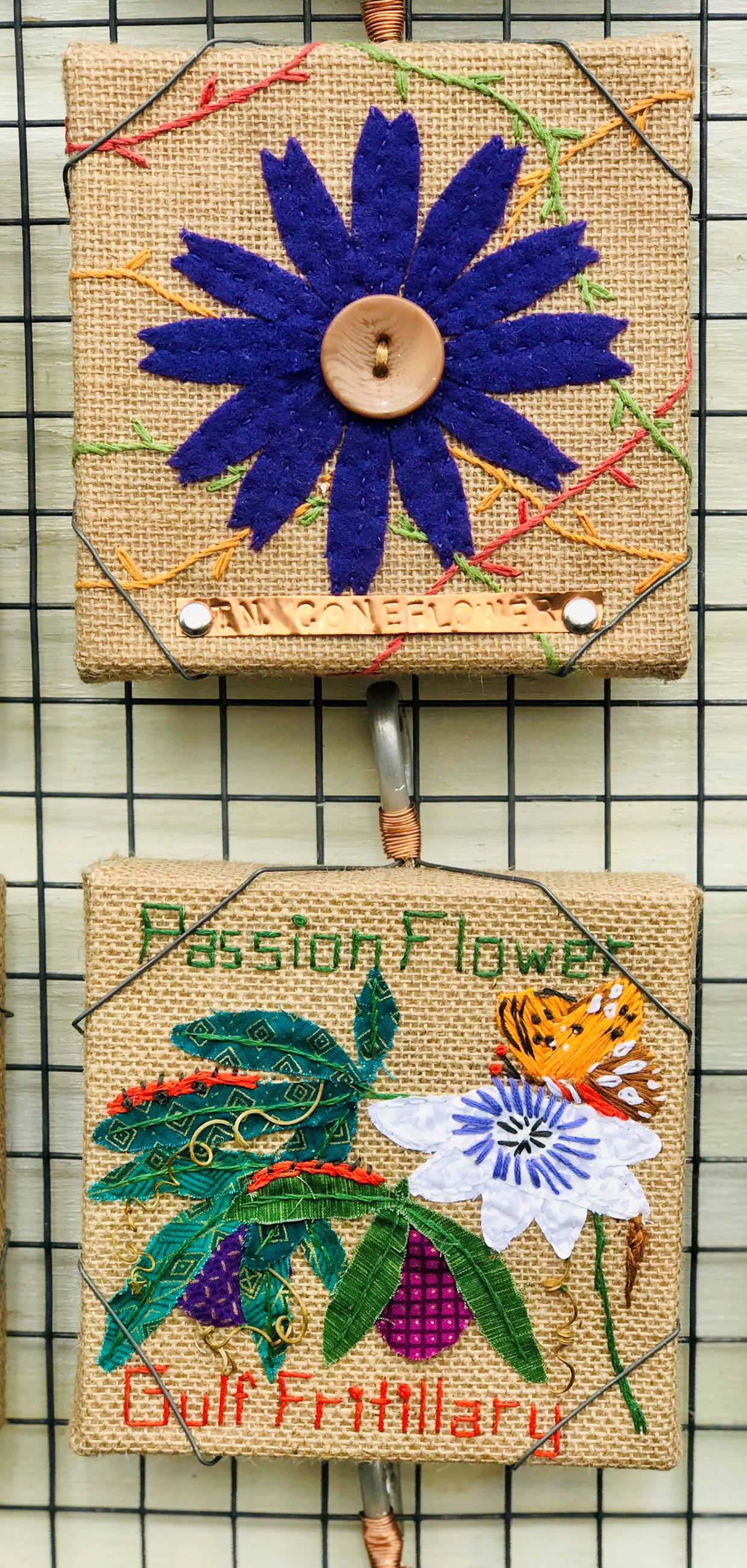 Embroidery artists Stacey Brown - TN Coneflower & Suzanne LeBeau -Passion Flower and Gulf Fritillary