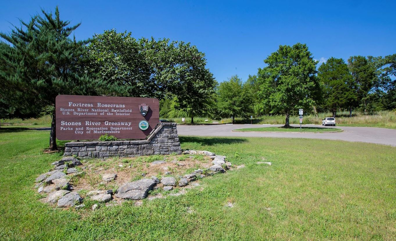 Wooden sign: Fortress Rosecrans, US Park Service, and Stones River Greenway, Murfreesboro
