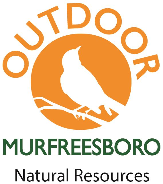 Outdoor Murfreesboro Natural Resources logo - Orange circle, white bird on branch silhouette, text