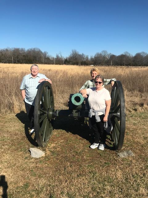 greenway walking group with cannon at battlefield