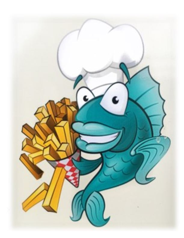 Cartoon image of blue fish holding French fries