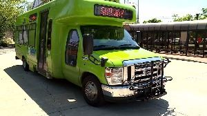 Green Rover bus at Transfer Hub, Public Transit, Public Transportation