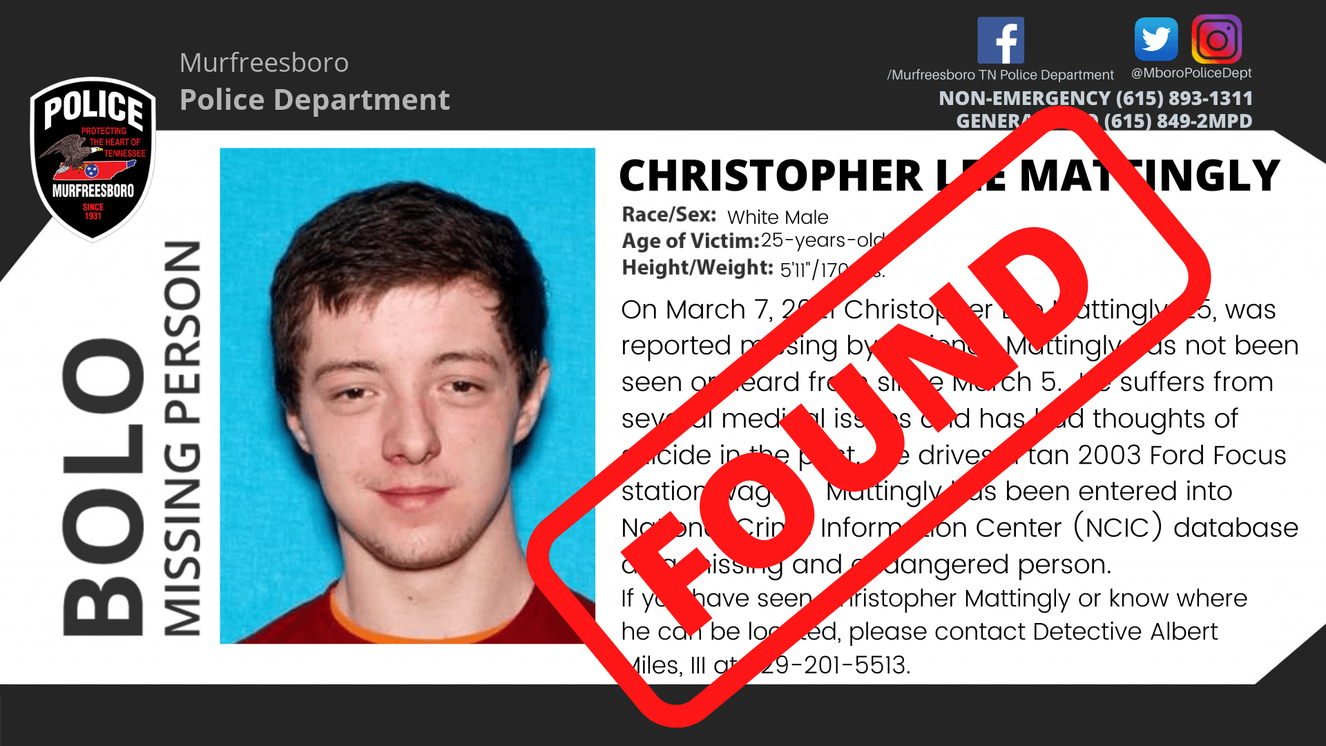 MISSING CHRISTOPHER MATTINGLY FOUND